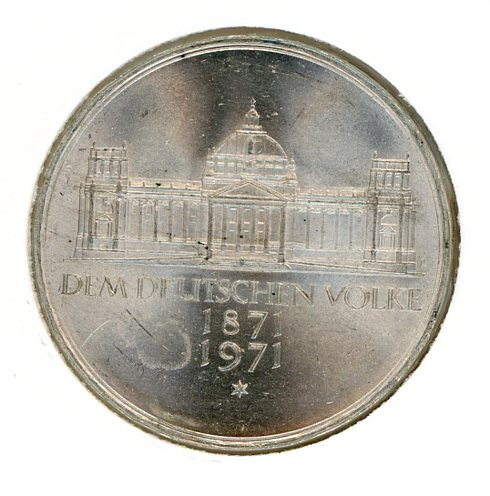 Thumbnail for 1971G German Silver Five Marks (B)