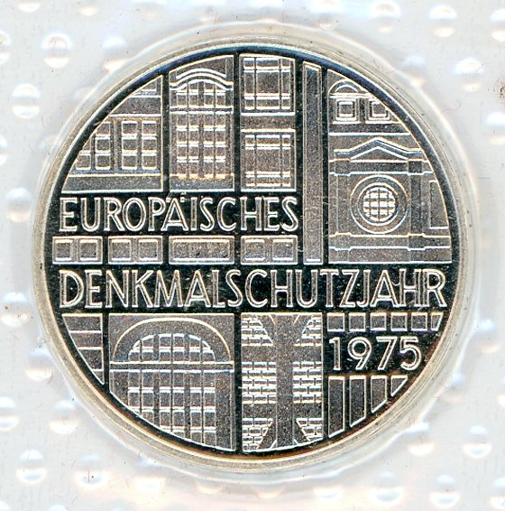 Thumbnail for 1975F German Silver Proof Five Mark Coin