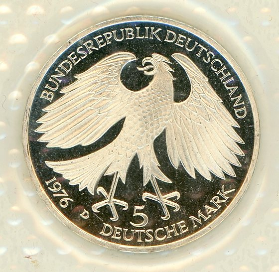 Thumbnail for 1976D German Silver Proof Five Mark Coin