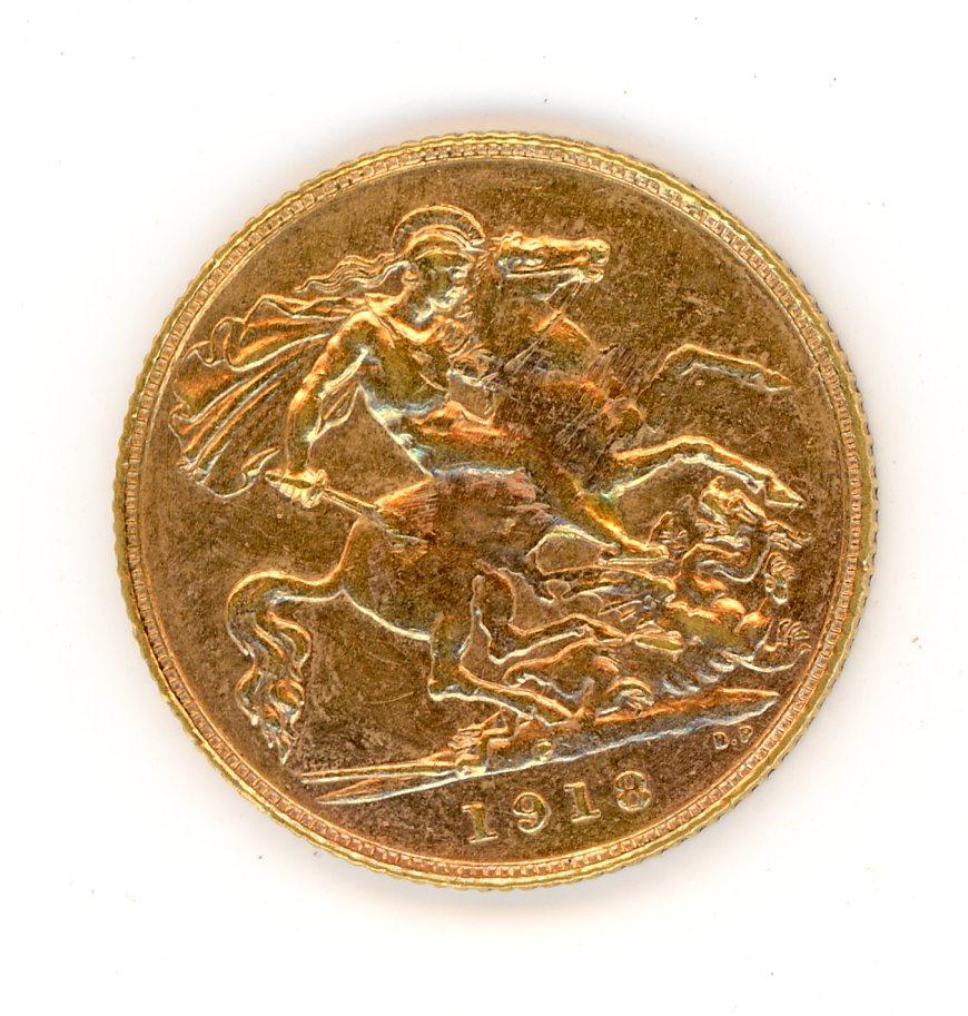 Thumbnail for 1918P Australian George V Gold Half Sovereign