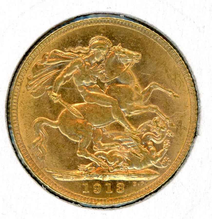 Thumbnail for 1913P Australian George V Gold Sovereign