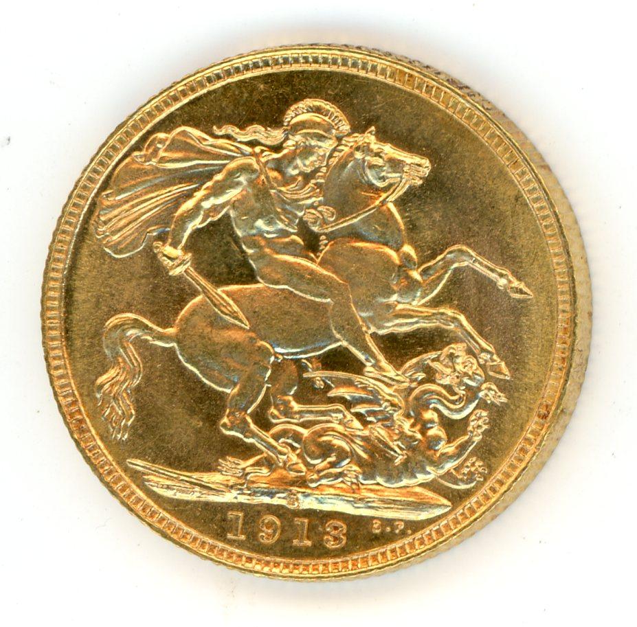 Thumbnail for 1913S Australian George V Gold Sovereign