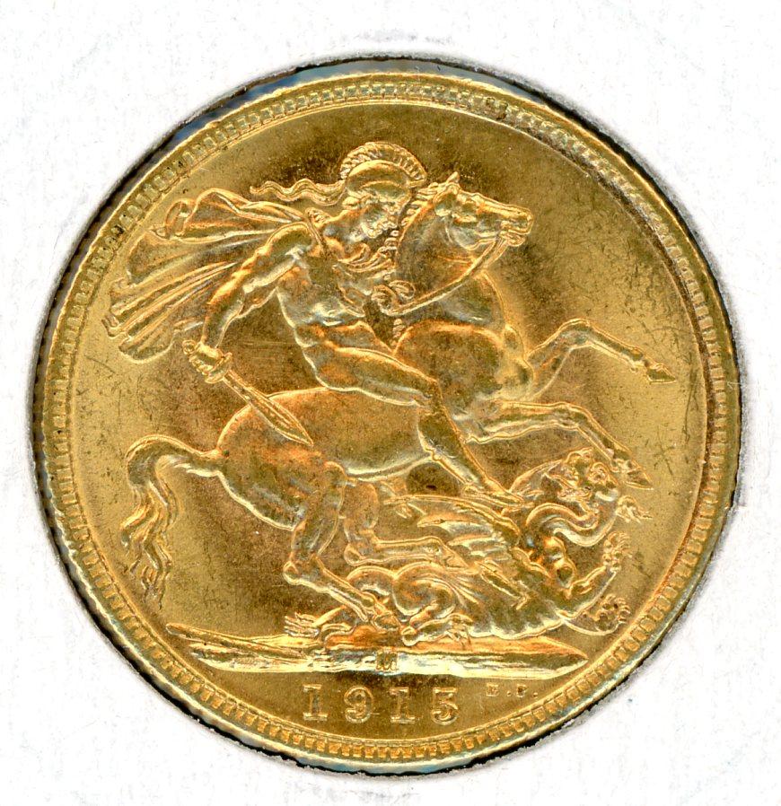 Thumbnail for 1915M Australian George V Gold Sovereign (D)