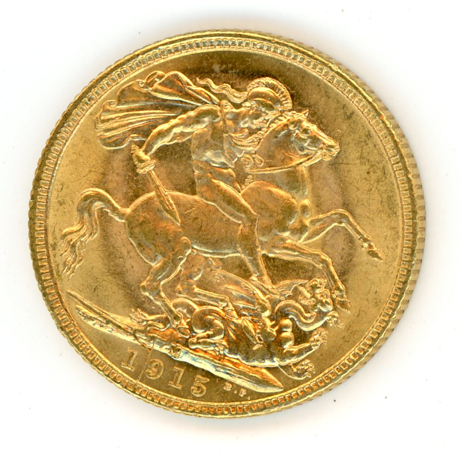 Thumbnail for 1915M Australian George V Gold Sovereign (A)