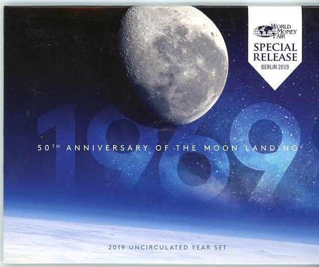Thumbnail for 2019 50th Anniversary of the Moon Landing UNC Year Set - World Money Fair Special Release Berlin 2019