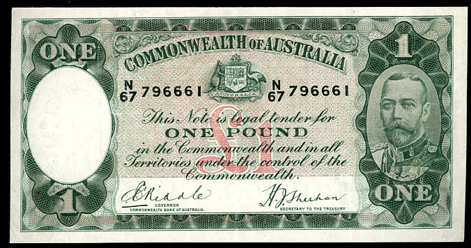 Thumbnail for 1933 One Pound Note Riddle - Sheehan N67 796661 aVF