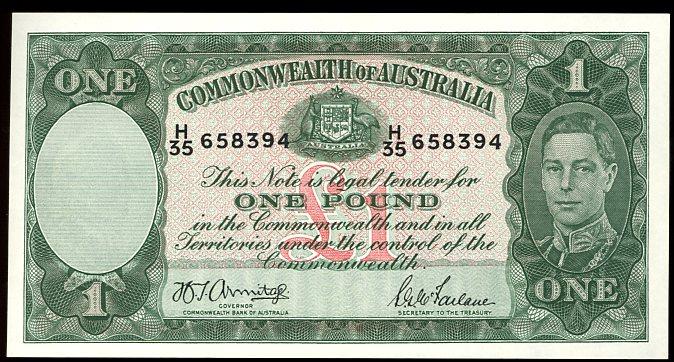 Thumbnail for 1942 One Pound Note  Armitage - McFarlane H35 658394 EF