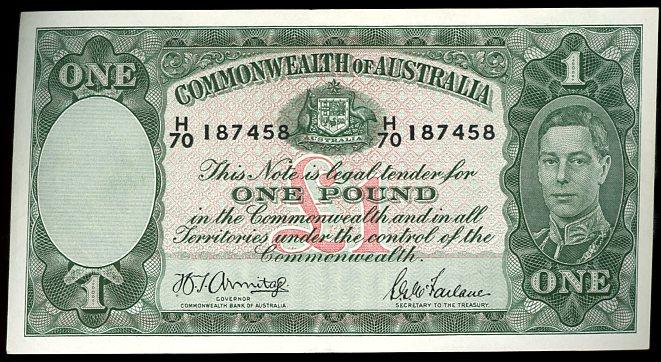 Thumbnail for 1942 One Pound Note  Armitage - McFarlane H70 187458 gVF