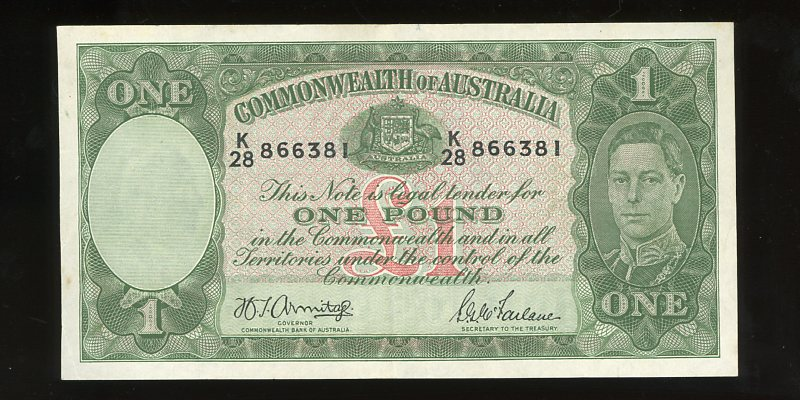 Thumbnail for 1942 One Pound Banknote K28 866381 VF
