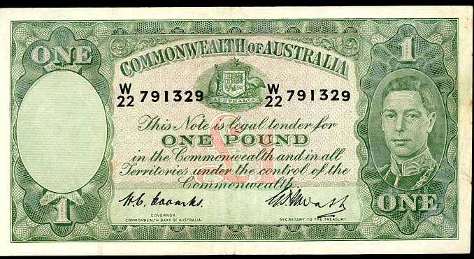 Thumbnail for 1949 Coombs-Watt One Pound Note W22 791329 VF