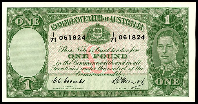 Thumbnail for 1949 One Pound Note Coombs - Watt I71 061824 gEF