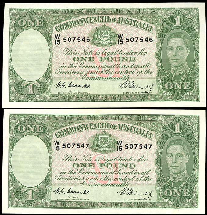 Thumbnail for 1949 Pair One Pound Notes Coombs - Watt W15 507546 aUNC