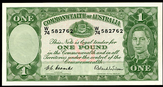Thumbnail for 1952 One Pound Note Coombs - Wilson W74 582762 gEF