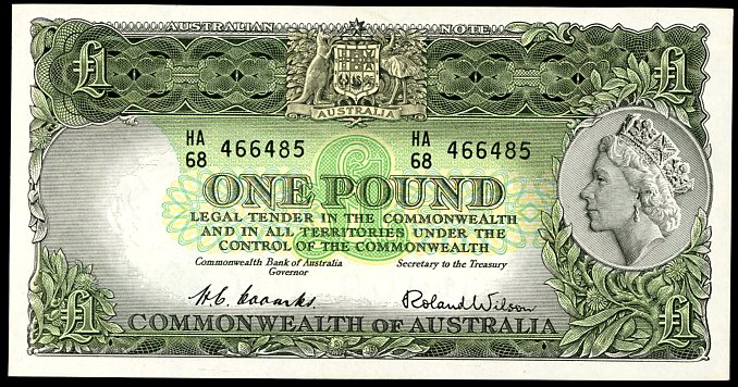 Thumbnail for 1953 One Pound Note Coombs - Wilson  HA68 466485 aUNC