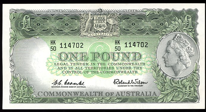 Thumbnail for 1961 Coombs-Wilson One Pound Note HK50 114702 EF