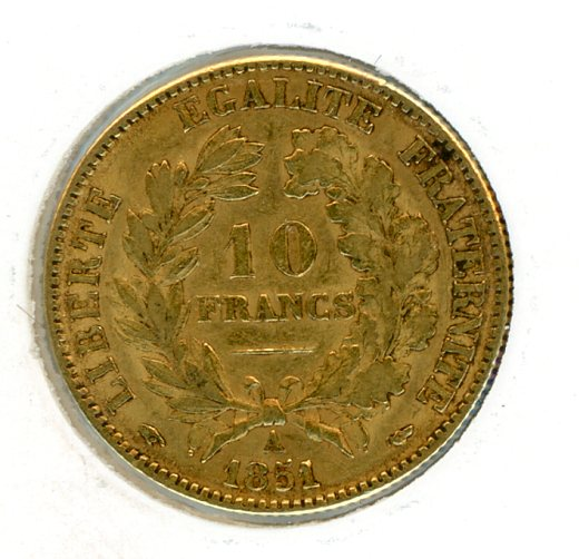 Thumbnail for 1851A France Gold 10 Francs