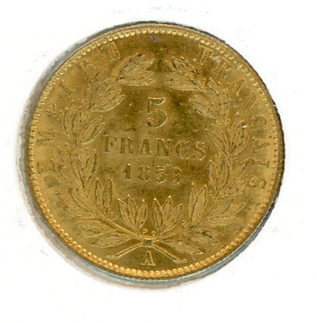Thumbnail for 1859 France Gold 5 Francs