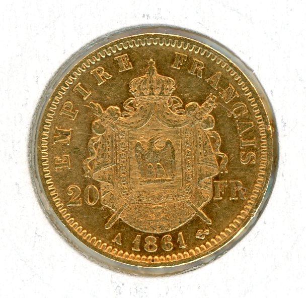 Thumbnail for 1861 France Gold 20 Francs