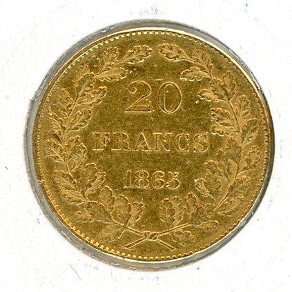 Thumbnail for 1865 Belgium Gold 20 Francs (A)
