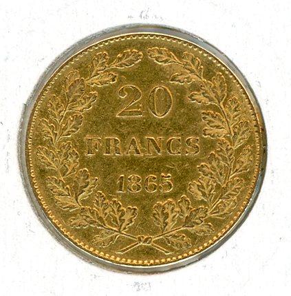 Thumbnail for 1865 Belgium Gold 20 Francs (B)