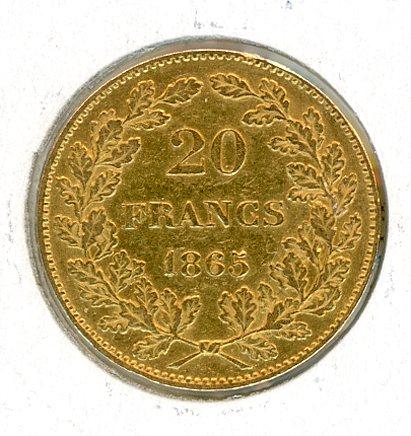 Thumbnail for 1865 Belgium Gold 20 Francs (C)