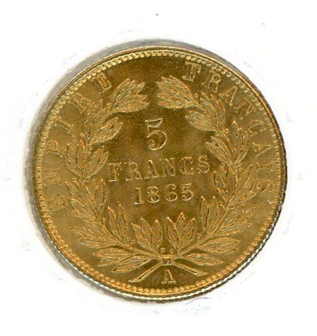 Thumbnail for 1865 France Gold 5 Francs