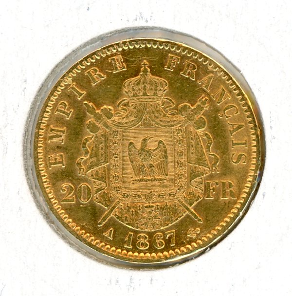 Thumbnail for 1867 France Gold 20 Francs