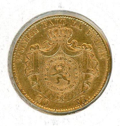Thumbnail for 1868 Belgium Gold 20 Francs