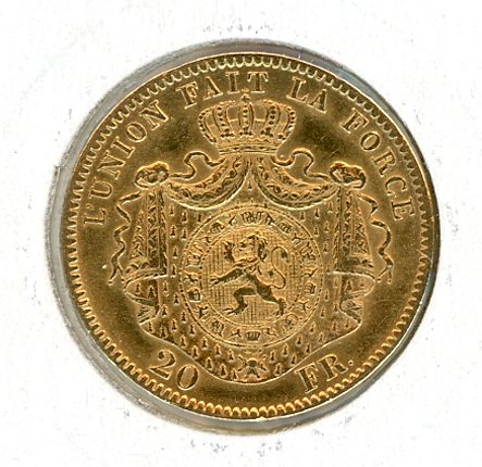 Thumbnail for 1869 Belgium Gold 20 Francs (A)