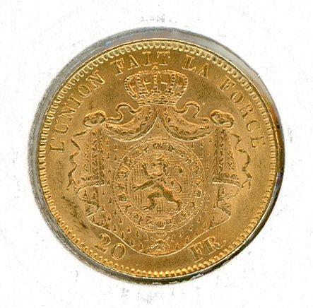 Thumbnail for 1869 Belgium Gold 20 Francs (B)