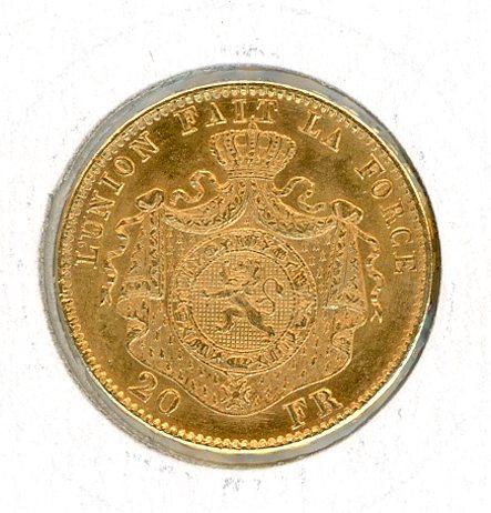 Thumbnail for 1870 Belgium Gold 20 Francs