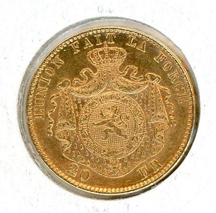 Thumbnail for 1874 Belgium Gold 20 Francs