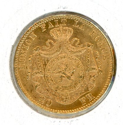Thumbnail for 1876 Belgium Gold 20 Francs
