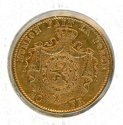 Thumbnail for 1877 Belgium Gold 20 Francs