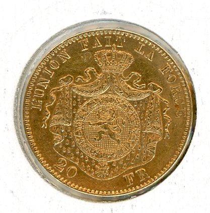Thumbnail for 1878 Belgium Gold 20 Francs