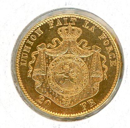 Thumbnail for 1882 Belgium Gold 20 Francs