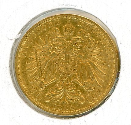 Thumbnail for 1894 Austria 20 Corona EF