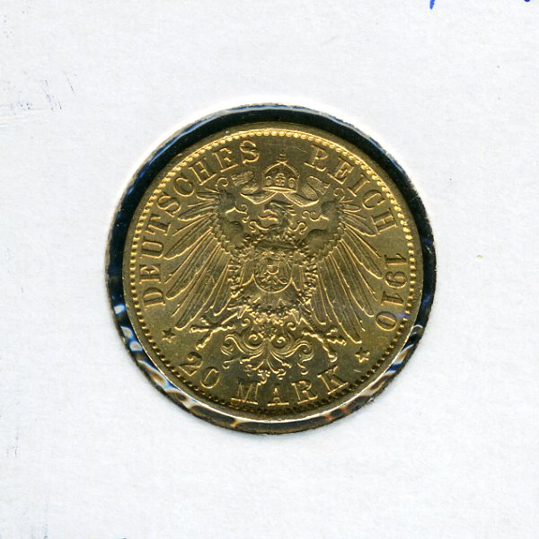 Thumbnail for 1910 A German Gold 20 Marks - Prussia