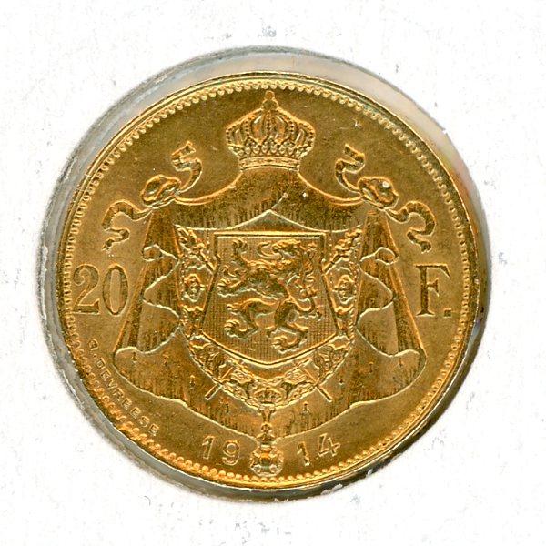 Thumbnail for 1914 Belgium Gold 20 Francs (B)