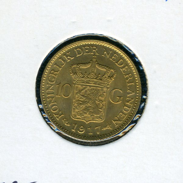 Thumbnail for 1917 Netherlands Gold 10 Guilden