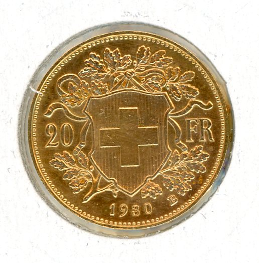 Thumbnail for 1930B Swiss Gold 20 Francs