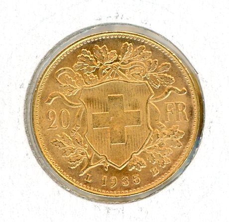 Thumbnail for 1935 Swiss 20 Francs aUNC