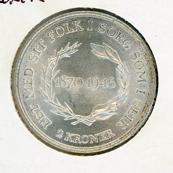Thumbnail for 1945 Denmark Silver 2 Kroner - Uncirculated