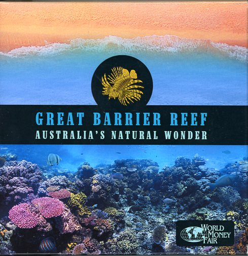 Thumbnail for 2018 Niue 5oz Gold Plated Silver Proof - Great Barrier Reef World Money Fair Issue