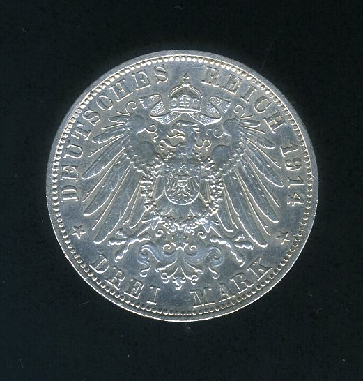Thumbnail for 1914 D German 3 Marks