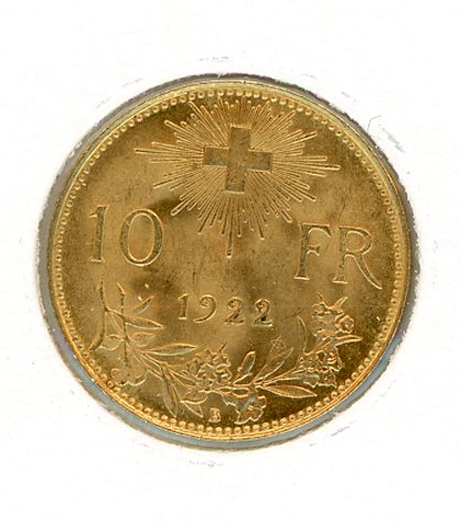 Thumbnail for 1922 Swiss Ten Franc Coin UNC