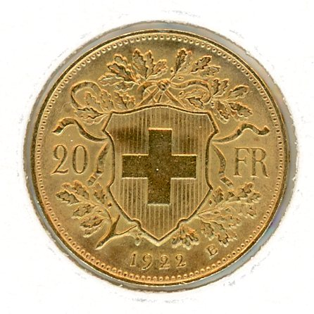 Thumbnail for 1922 Swiss Twenty Franc Coin aUNC