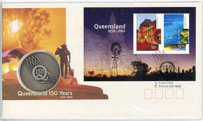 Thumbnail for 2009 Queensland 150 Years Medallic PNC