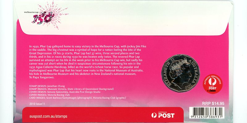 2010 150th Anniversary of the Running of the Melbourne Cup Stamp and Coin PNC