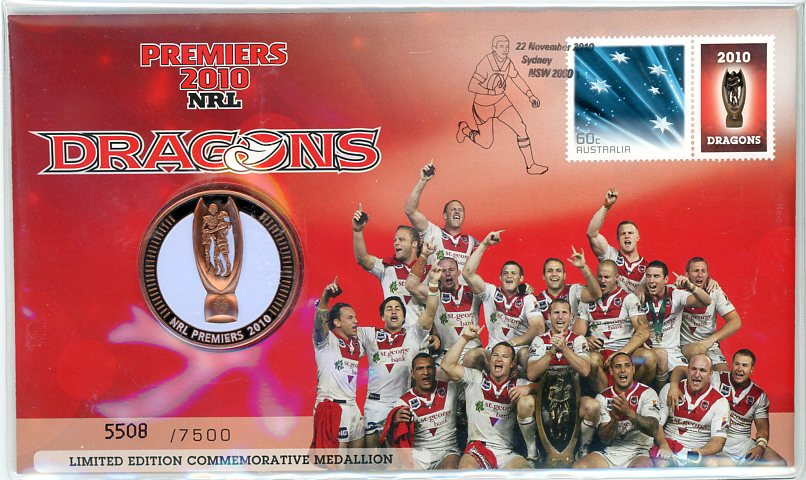 Thumbnail for 2010 NRL Premiers Medallic PNC - Dragons